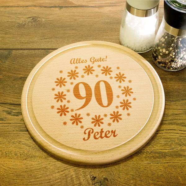 Rundes Frühstücksbrett aus Holz mit Gravur zum 90.