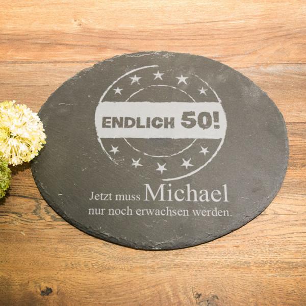Runde Schieferplatte mit Wunschmotiv zum 50.