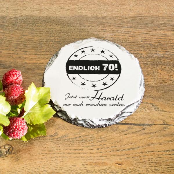 Runder Tassenuntersetzer aus Granit mit Wunschmotiv zum 70.