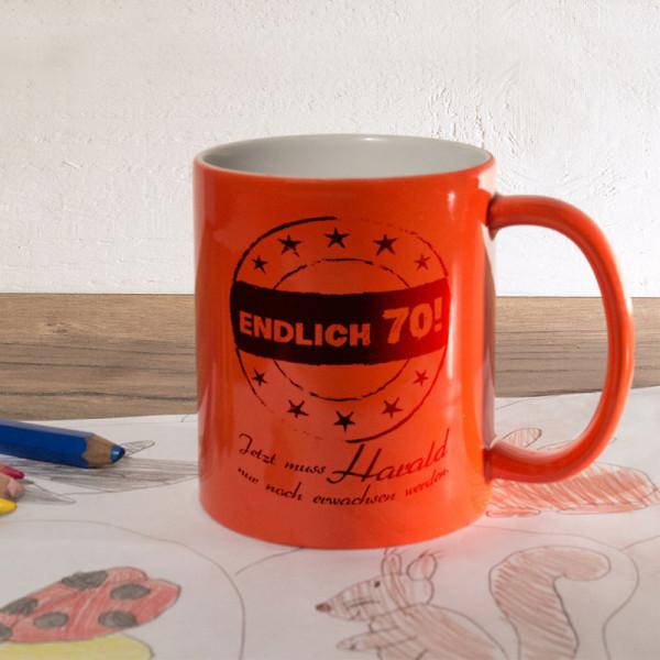 Personalisierte orange Zaubertasse zum 70.
