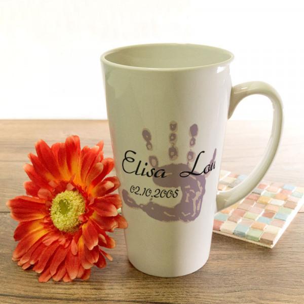 Große Tasse Latte zum Geburtstag mit Wunschmotiv