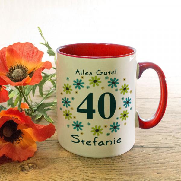 Personalisierte Tasse zum 40.