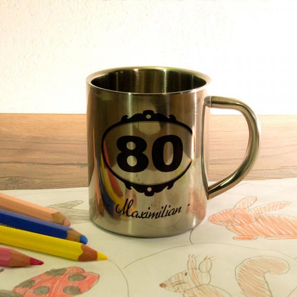 Fototasse aus Edelstahl mit Wunschmotiv zum 80.