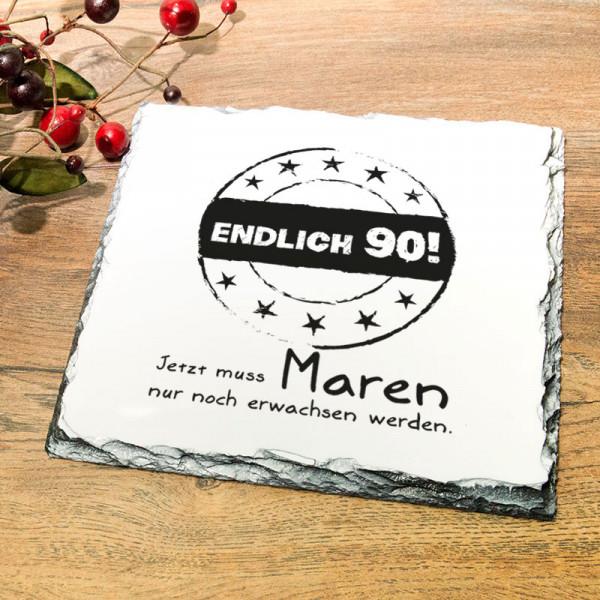 Platte aus Granit mit Wunschmotiv zum 90.
