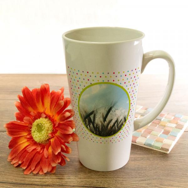 Große Tasse Latte mit Ihrem Lieblingsfoto zum Geburtstag