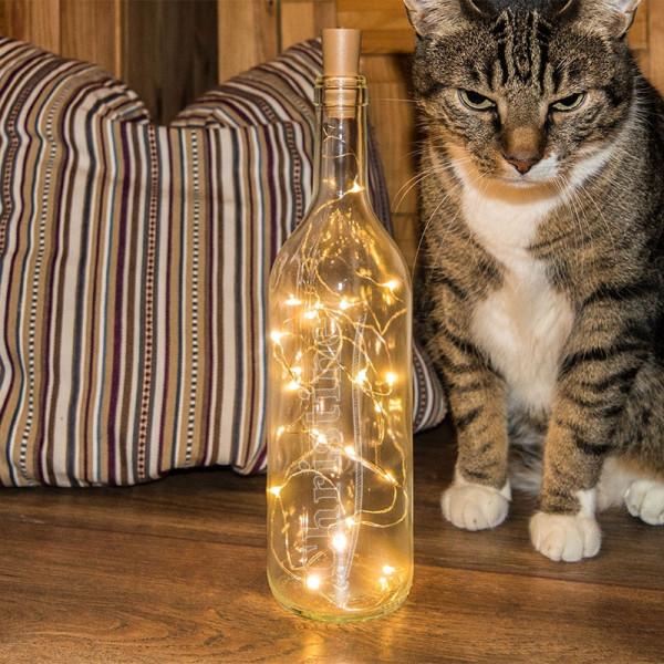 Gravierte Deko Flasche Mit Led Licht Freundschaft Anlass