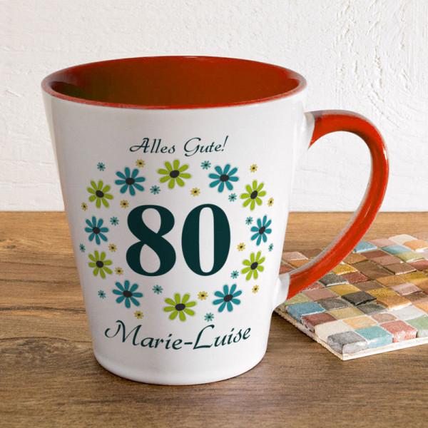 Tasse FUNNY Latte klein mit Wunschmotiv zum 80.