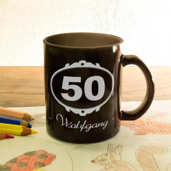 Glas Zaubertasse satiniert mit Wunschmotiv zum 50.