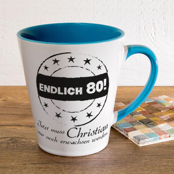Personalisierte Tasse FUNNY Latte klein zum 80.