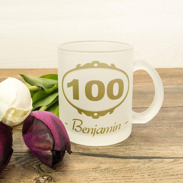 Glastasse satiniert mit Wunschmotiv zum 100.