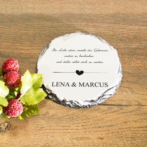 Runder Tassenuntersetzer aus Granit zur Hochzeit