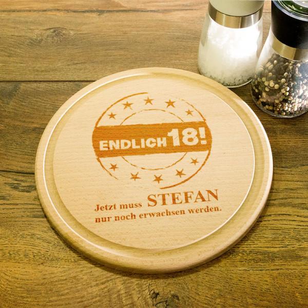 Rundes Frühstücksbrett aus Holz mit Gravur zum 18.