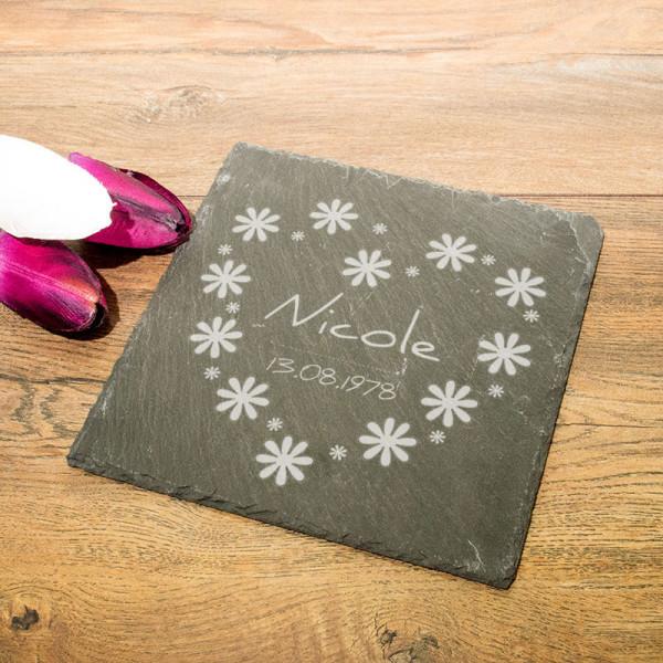 Personalisierte eckicke Schieferplatte zum Muttertag