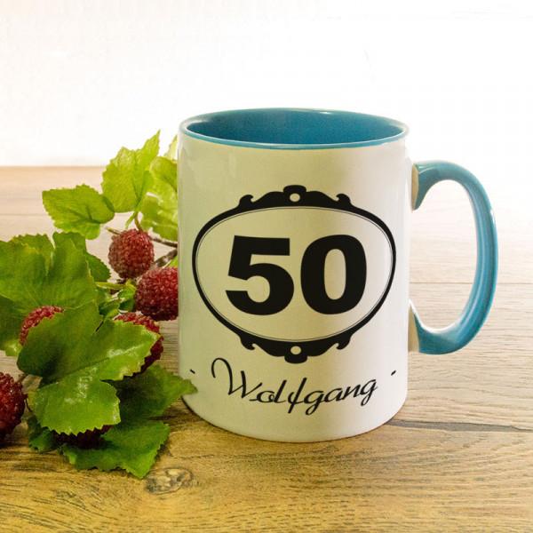 Personalisierte Tasse zum 50.