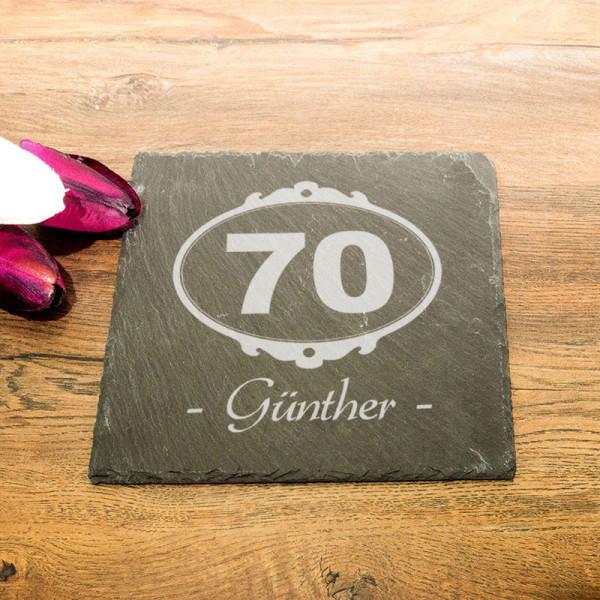 Eckige Schieferplatte mit Wunschmotiv zum 70.