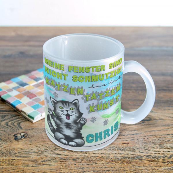 Glastasse satiniert mit Katzentatzen für Kinder