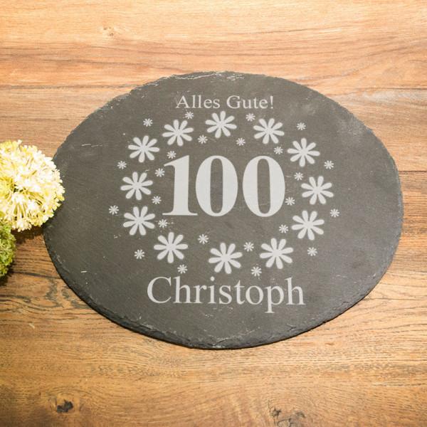 Runde Schieferplatte mit Gravur zum 100.