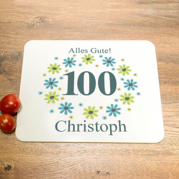 Personalisiertes Schneidebrett aus Glas zum 100.
