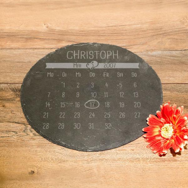 Personalisierte runde Schieferplatte mit Kalender für Männer