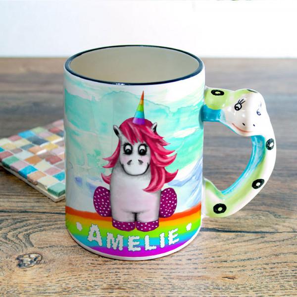 Tasse mit Henkel in Tierform bedruckt mit Einhorn für Kinder