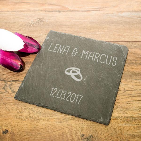 Personalisierte eckicke Schieferplatte zur Hochzeit