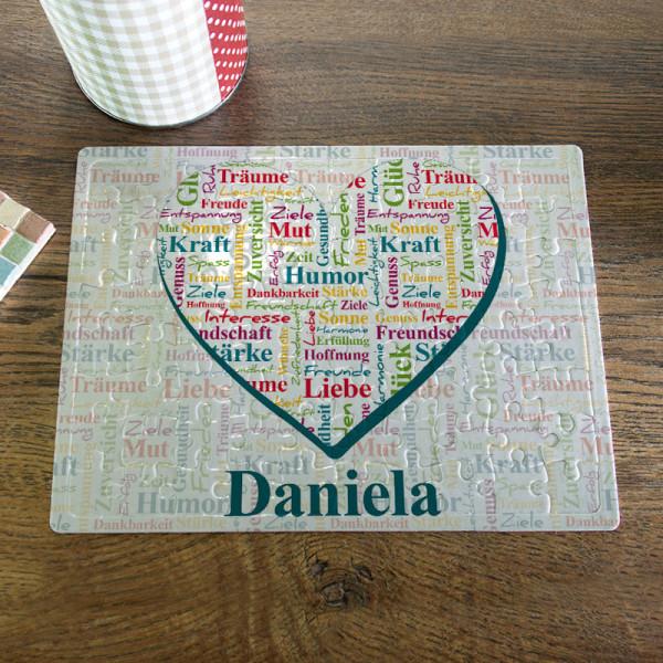 Puzzle DIN A5 mit guten Wünschen in einem Herz verpackt zum Geburtstag