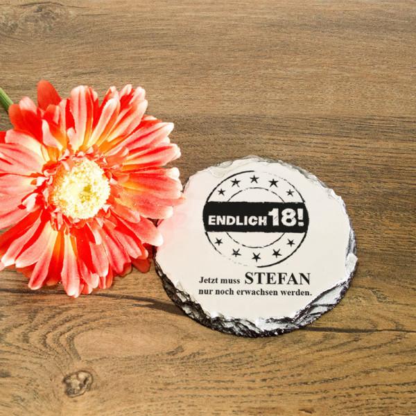 Runder Tassenuntersetzer aus Granit mit Wunschmotiv zum 18.