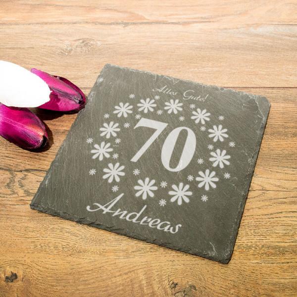 Personalisierte eckicke Schieferplatte zum 70.