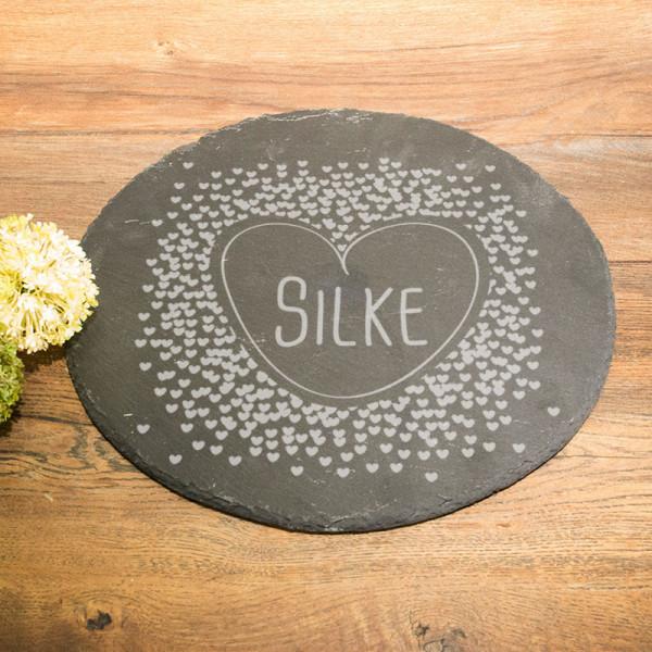 Runde Schieferplatte mit Wunschmotiv für Frauen