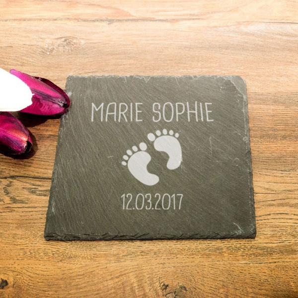 Personalisierte eckicke Schieferplatte zur Geburt