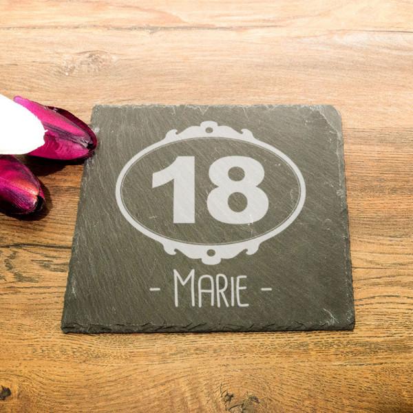 Personalisierte eckicke Schieferplatte zum 18.
