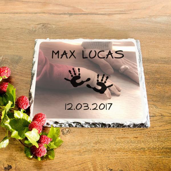 Personalisierte Granitplatte zur Geburt