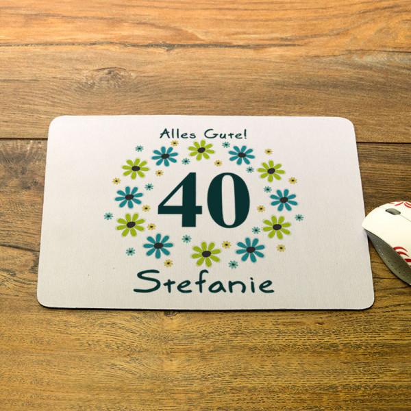 Mousepad mit Wunschmotiv zum 40.