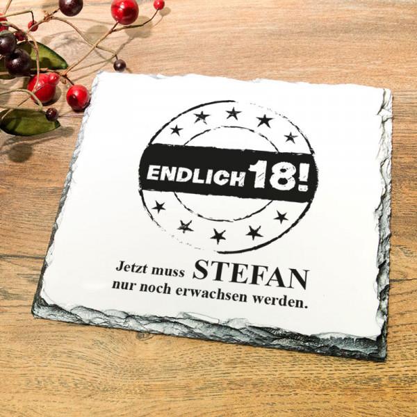 Platte aus Granit mit Wunschmotiv zum 18.