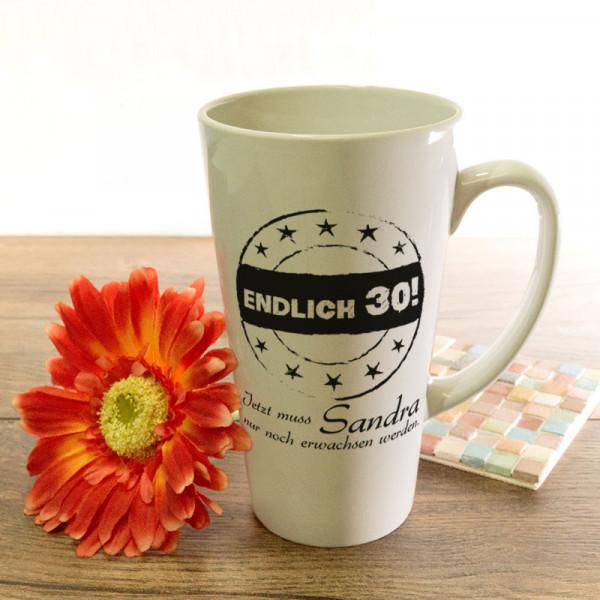Personalisierte große Tasse Latte zum 30.