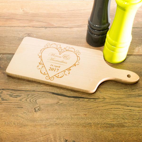 Personalisiertes Schneidebrett aus Holz mit Griff Anlass/Liebe