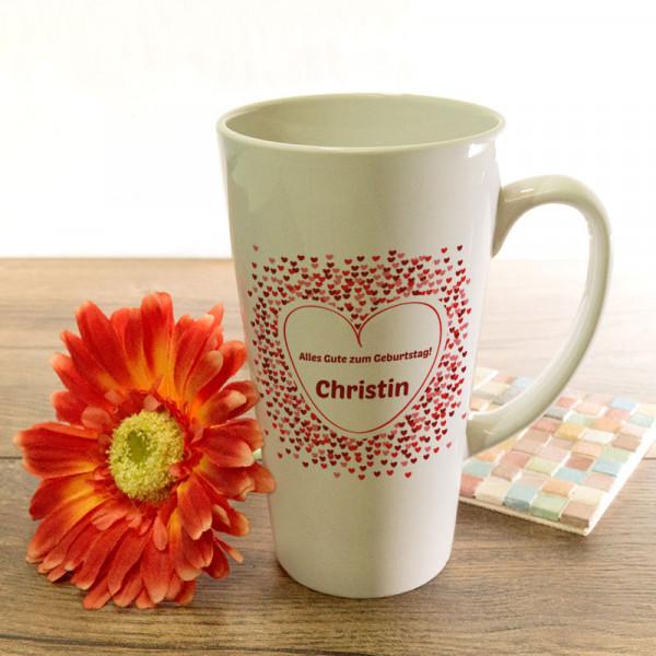Personalisierte große Tasse Latte zum Geburtstag