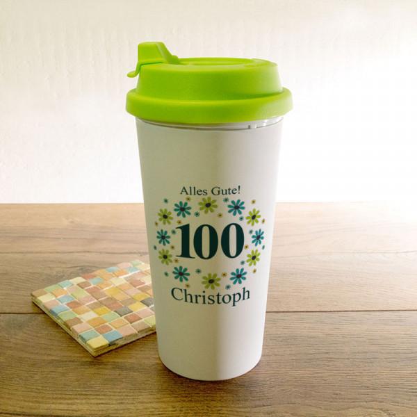 Personalisierter Trinkbecher zum 100.
