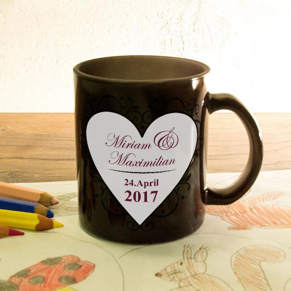 Glas Zaubertasse satiniert zur Hochzeit mit Wunschmotiv