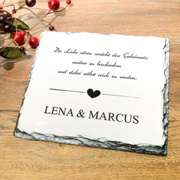 Personalisierte Platte aus Granit zur Hochzeit