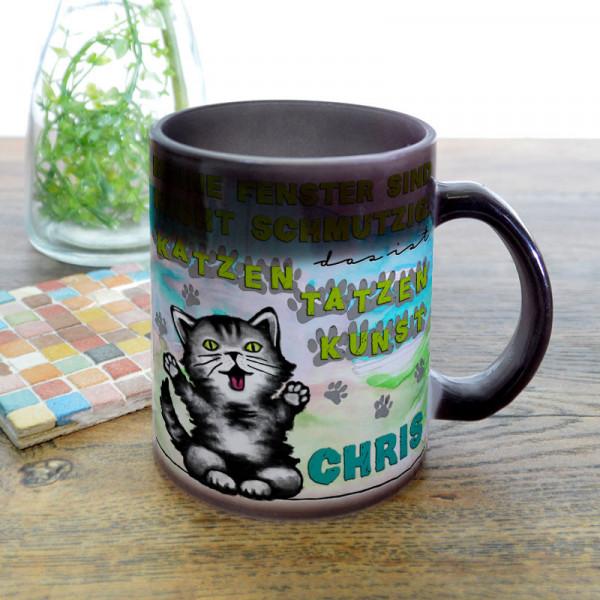 Glas Zaubertasse satiniert mit Kätzchen für Kinder