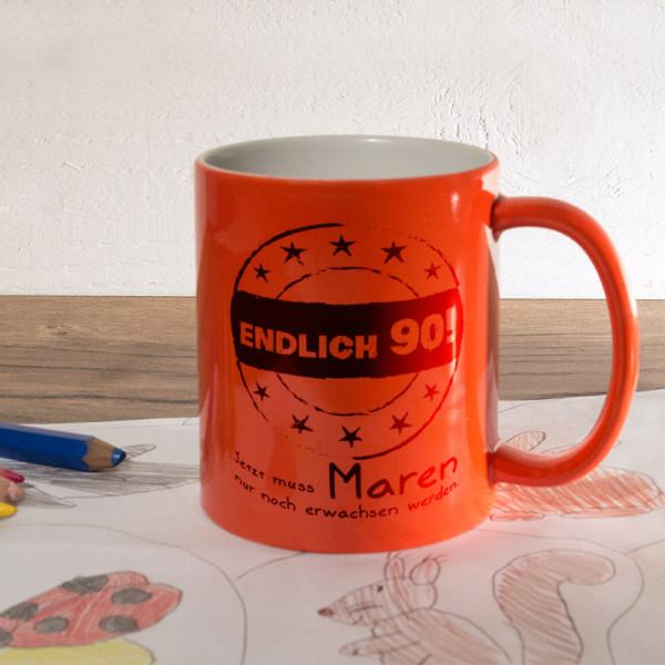 Personalisierte orange Zaubertasse zum 90.