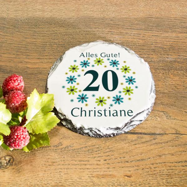 Runder Tassenuntersetzer aus Granit mit Wunschmotiv zum 20.