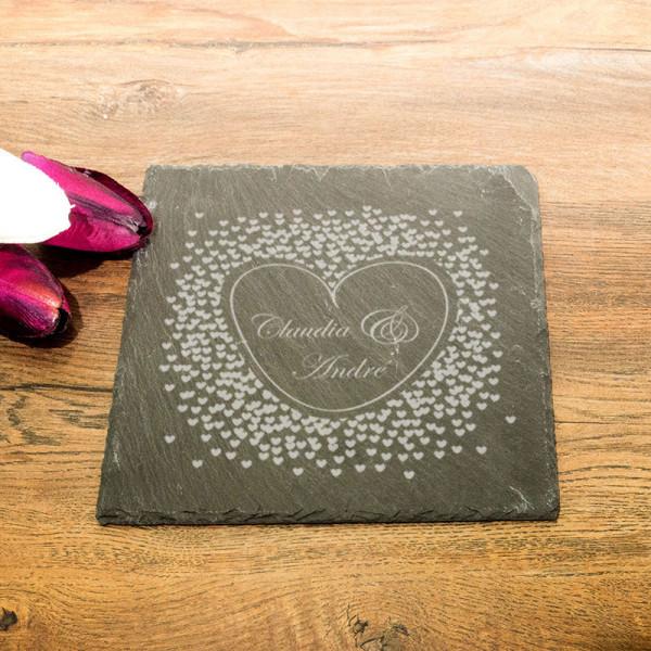 Eckige Schieferplatte mit Gravur Anlass/Liebe