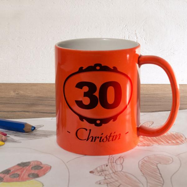 Orange Zaubertasse mit Wunschmotiv zum 30.
