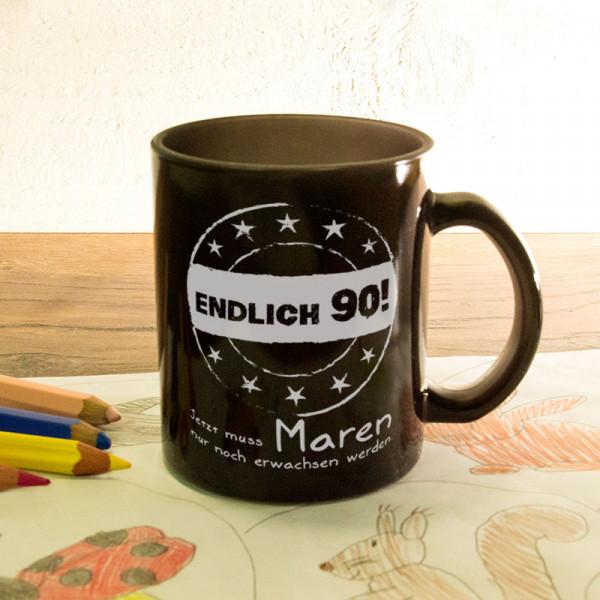 Glas Zaubertasse satiniert mit Wunschmotiv zum 90.