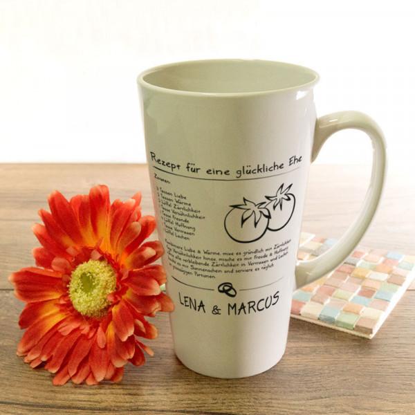 Personalisierte große Tasse Latte zur Hochzeit