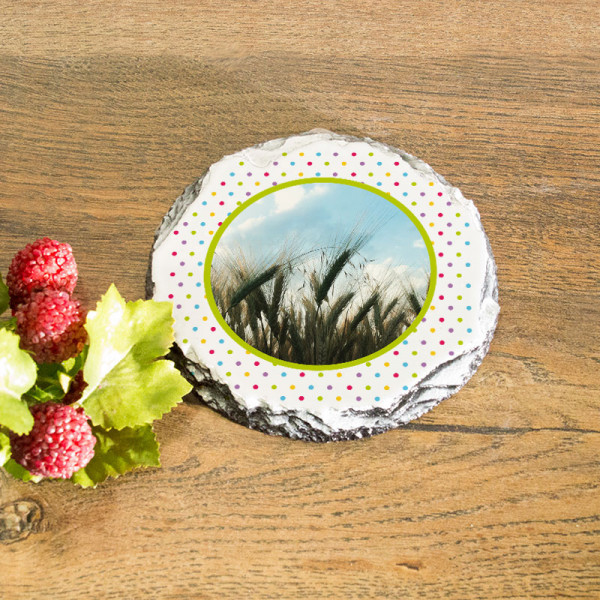 Runder Tassenuntersetzer aus Granit mit Foto