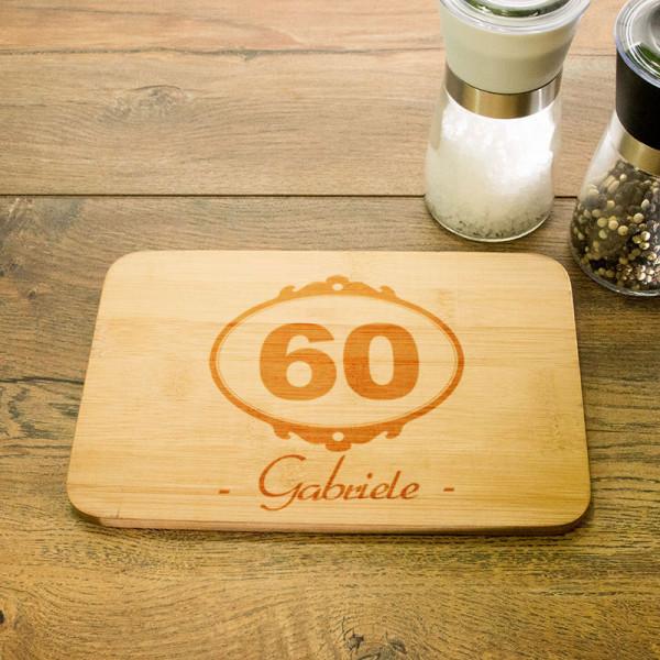 Frühstücksbrettchen mit Wunschmotiv zum 60.
