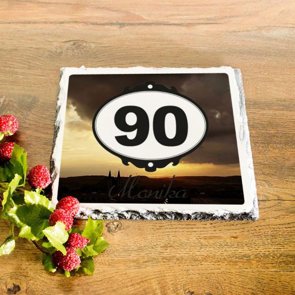 Personalisierte Granitplatte zum 90.